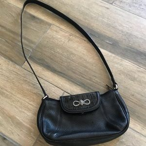Brighton black leather shoulder bag small